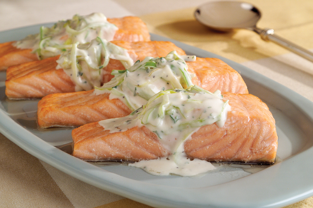 Salmon with Leeks and Cream Sauce